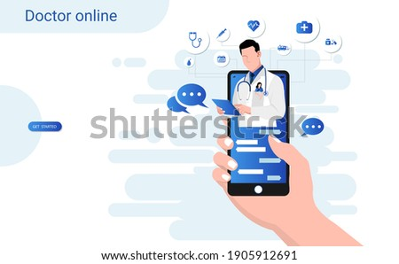 Online consultation doctor on mobile app with male doctor through the phone screen. Online medical clinic, tele medicine, Online healthcare and medical consultation, Digital health concept. 3D vector