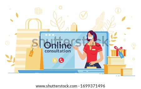 Online Consultation during Coronavirus Outbreak. Shop Assistant in Headset, Facemask Consulting Consumer about Discount, Sale, Bonus, Gift on Laptop Screen during Covid19 Pandemic. Technical Support