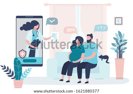 Online consultation,recommendations of a physician. Prenatal medicine. Medical app on smartphone. Internet chat. Cute pregnant woman with husband in home and doctor. Living room interior.Vector