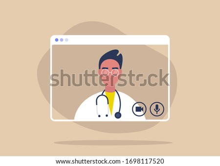 Online consultation with a male doctor, social distancing, coronavirus prevention