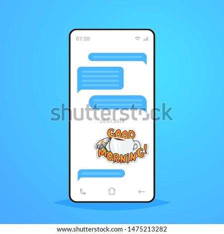 online conversation mobile chat app sending receiving messages with good morning sticker messenger application communication social media concept smartphone screen flat