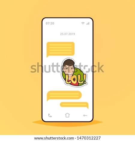 online conversation mobile chat app sending receiving messages with lol sticker application communication social media concept smartphone screen flat