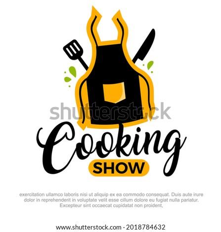 Online cooking show vector logo design. modern cooking logo design. Apron and kitchen tools logo design. Fresh Cooking Logo design.  apron vector icon.