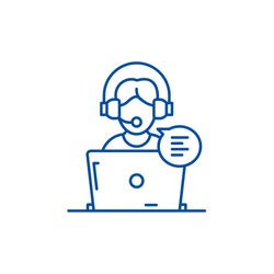 Online counseling line icon concept. Online counseling flat  vector symbol, sign, outline illustration.