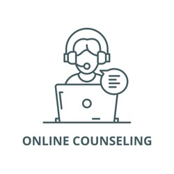 Online counseling vector line icon, linear concept, outline sign, symbol