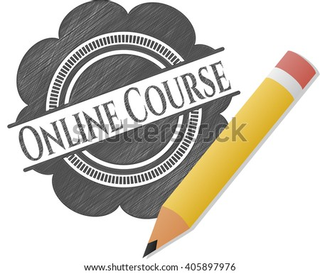 Online Course drawn with pencil strokes