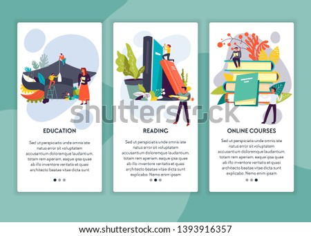 Online course education and reading web page template vector books and textbooks distant learning and studying knowledge Internet site mockup degree certificate academic hat students and subjects