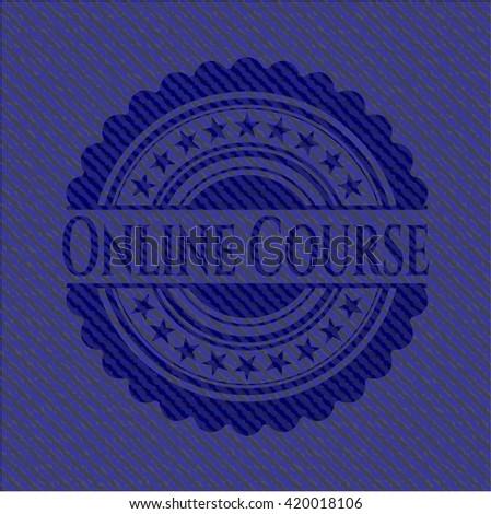 Online Course emblem with denim texture