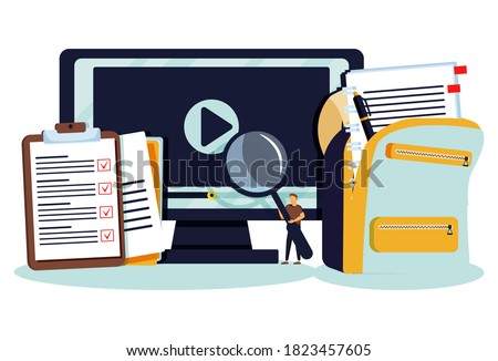 Online courses lesson for distance knowledge web study tiny persons concept. Virtual school using internet services vector illustration. Webinar and digital presentations for personal development.