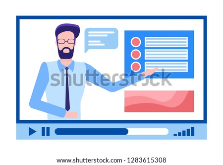 Online courses male in glasses with beard explaining material vector. Person with explanation of tasks, tutor for students to be educated, distant study