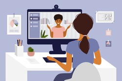 Online courses, studying or education. Video call, networking or conference by computer. Team work, talking with partner. Hiring, job interview, employment. Home office, work place vector illustration