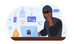 Online crime concept. A masked fraudster calls his victim on the phone and asks for banking information. The criminal steals money. Cartoon flat vector illustration isolated on a white background