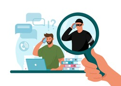 Online crime concept illustration, online social media fraud. A swindler and a thief are working at the computer. Vector flat illustration isolated on white background