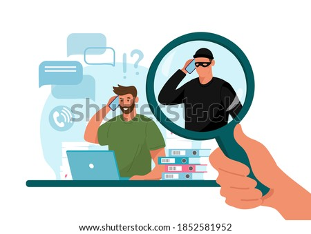 Online crime concept illustration, online social media fraud. A swindler and a thief are working at the computer. Vector flat illustration isolated on white background Foto stock ©