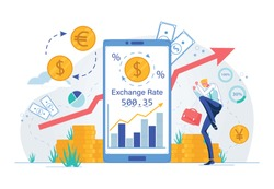 Online Currency Exchange or Stock Investments Technology. Businessman Cartoon Character Joyful with Exchange Rate Growth and Successful Funding or Money Placements. Flat Vector illustration.