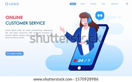 Online customer service landing page website illustration vector flat design