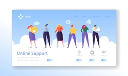 Online Customer Service Technical Support Landing Page. Operator Character Chat to Help User Solution. Hotline Communication Concept for Website or Web Page. Flat Cartoon Vector Illustration