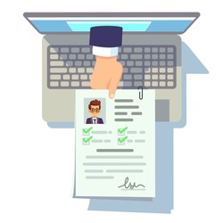 Online cv application. Resume submission on laptop screen, recruitment and career management vector concept. Online job, candidate application resume illustration