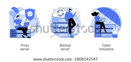 Online data access and security abstract concept vector illustration set. Proxy server, backup server, cyber insurance, computer networking, IP address, IT security, data hacking abstract metaphor.