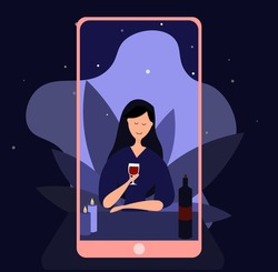 Online date, virtual love, long distance relationship. Dating app. Cartoon couple talking during quarantine. Connection with isolated partner Vector illustration