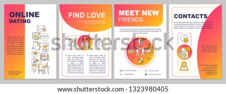 Online dating app brochure template layout. Find love idea. Flyer, booklet, leaflet print design with linear illustrations. Vector page layouts for magazines, annual reports, advertising posters