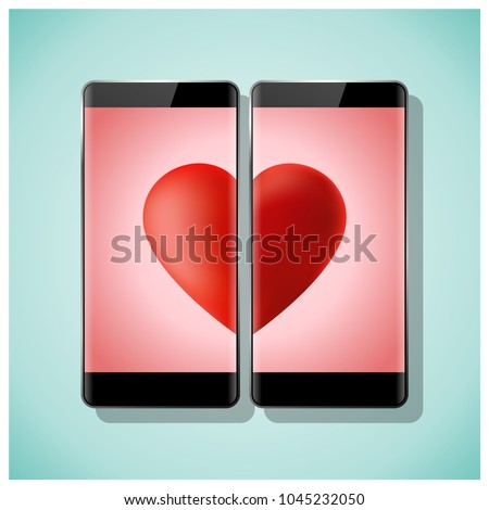 Online dating concept Love has no boundaries with two smartphones matching red heart on screen , vector , illustration
