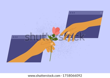 Online dating concept. Social distancing and internet love. Partner gives flower for darling from virtual window frame. Human hand holding out gift to lover. Couple in social media vector illustration