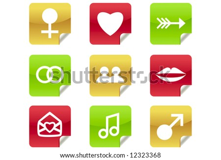 Online Dating Icons for Website / Blog - a set of 9 internet icons and buttons - stock vector