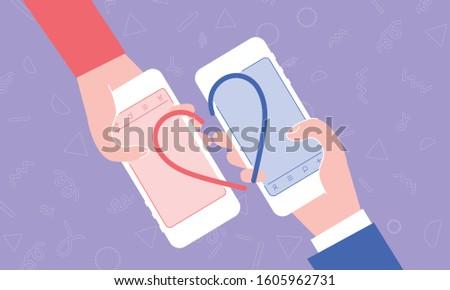 Online dating matching image, mobile, apps, vector illustration, purple background