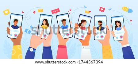 Online Dating Service Application. Men and women communicate via smartphone with interesting people looking for romance. Virtual relationships at a distance. Flat Vector Illustration