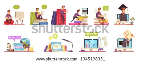 Online degree college university education courses with qualification diploma 12 cartoon compositions horizontal set isolated vector illustration