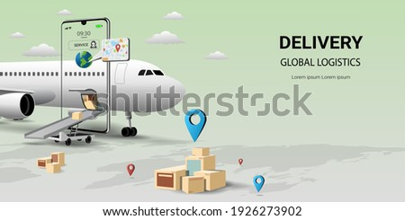 Online delivery by air service on mobile,Global logistic,transportation. Online order.Air logistics.airplane,warehouse and parcel box.Concept for website or banner.3D Perspective Vector illustration Photo stock ©