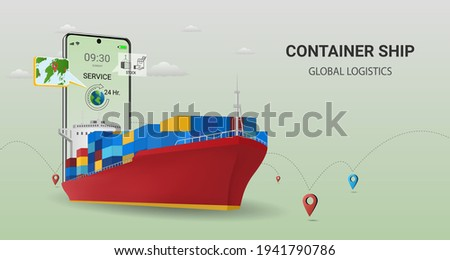 Online  delivery by container ship  on mobile service, online order tracking, global logistic, Ship delivery, sea logistics. warehouse, cargo, courier. Concept for website or banner. 3D Vector