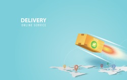 Online delivery concept idea.Fast respond delivery package shipping background.Online order tracking with world map location.Logistic delivery service.Mail delivery service and tracking Vector.EPS10
