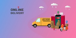 Online delivery mobile application on website vector concept. Delivery home and office. City logistics. Copy space for text. Vector illustration EPS10.