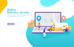 Online delivery service concept, online order tracking, can use for, landing page, template, ui, web, mobile app, poster, banner, flyer