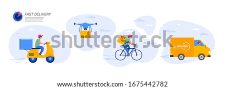 Online delivery service concept, online order tracking, delivery home and office. Warehouse, truck, drone, scooter and bicycle courier, delivery man. Vector illustration