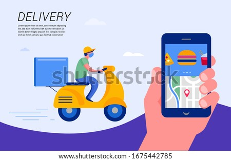 Online delivery service concept, online order tracking, delivery home and office. Warehouse, truck, drone, scooter and bycicle courier, delivery man. Vector illustration