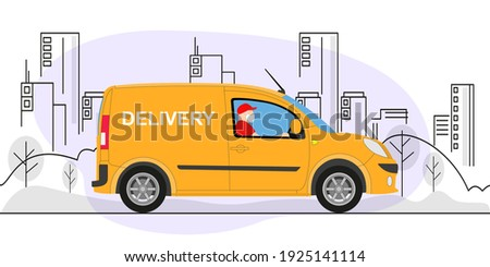 Online delivery service concept, online order tracking, delivery home and office. Warehouse, truck, delivery man in respiratory mask. Vector illustration.