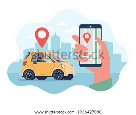 Online delivery service concept, online order tracking, home and office delivery. Courier on an electric car. Vector illustrations in a flat style on the background of the city