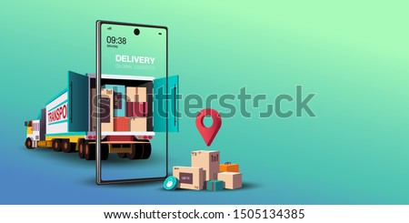 Online delivery service concept, online order tracking,Logistics and Delivery, on mobile Vector. illustration