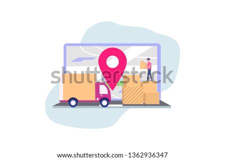 Online delivery service concept, online order tracking, vector illustration concept for web landing page template, banner, flyer and presentation.