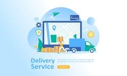 Online delivery service concept, order tracking, Suitable for web landing page, ui, mobile app, banner template. Vector Illustration