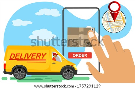 Online delivery service concept, order tracking, Suitable for web landing page, ui, mobile app, banner template. Vector Illustration Сток-фото ©