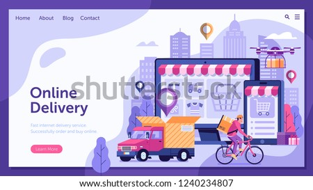Online delivery service landing page with drone, courier on bike and delivery van with box. Internet shipping web banner with modern city. Transportation and logistic digital shopping ad concept.