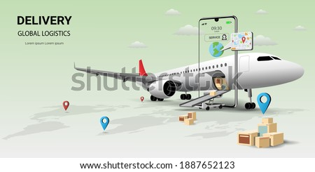 Online delivery service on mobile, Global logistic, transportation. Online order. Air logistics. Airplane, warehouse and parcel box. Concept of web page design for website or banner. 3D Vector