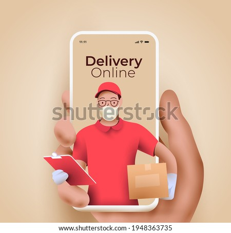 Online delivery service or delivery tracking mobile application concept with semi-realistic hand holding smartphone with courier with packing coming out from the screen. 3d vector illustration