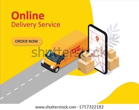 Online delivery service. Transportation and logistic digital shopping ad concept. Suitable for web landing page, ui, mobile app, banner template. Vector Illustration