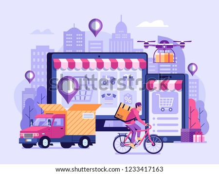 Online delivery service UI illustration with dron, courier on bike and delivery van with box. Internet shipping concept with modern city. Transportation and logistic digital shopping ad banner.
