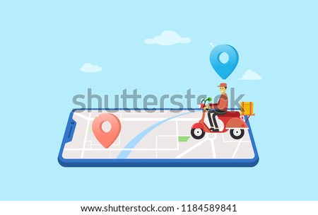 online delivery service vector illustration concept, can use for, landing page, template, ui, web, mobile app, poster, banner, flyer